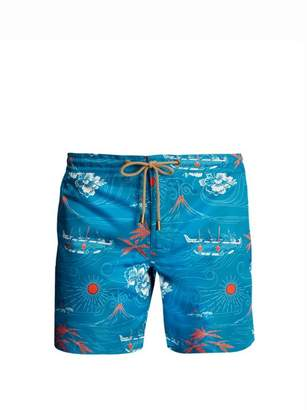 Thorsun - Titan Fit Polynesian Print Swim Shorts - Mens - Green