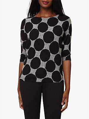 Phase Eight Sloane Spot Batwing Top, Black/Charcoal