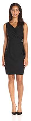 Alex Evenings Slimming Short Ruched Dress with Ruffle Skirt (Petite and Regular Sizes)
