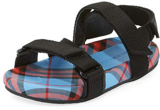 Burberry Redmire Check-Lined Sandal, Toddler