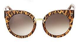 Stella McCartney Women's 51MM Leopard Print Rounded Cat Eye Sunglasses