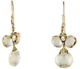 14K Lemon Quartz Drop Earrings