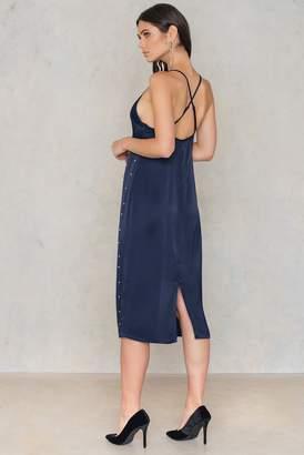 Na Kd Party Beaded Slip Dress Dark Blue