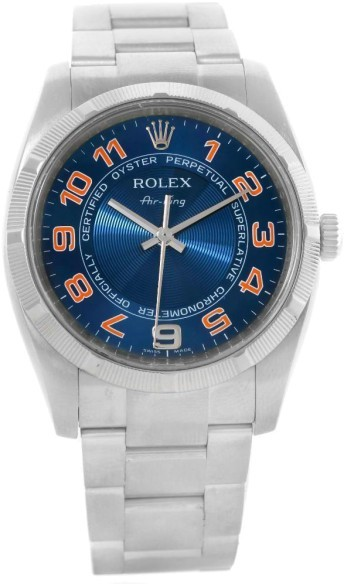 Rolex Oyster Perpetual Air King 114210 Blue Pink Dial Mens Watch