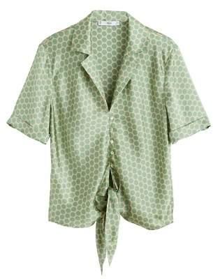 MANGO Satin polka-dot blouse