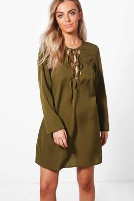 boohoo Extreme Lace Up Shift Dress