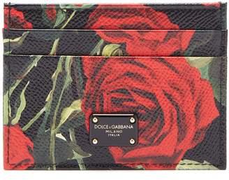 Dolce & Gabbana Rose-print leather card holder