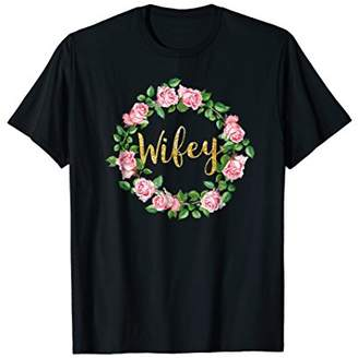 Wifey T-Shirt NEW Floral Wreath & Gold Glitter Script