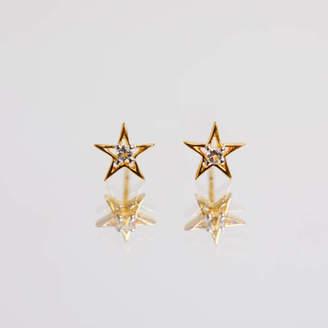 98dfa4290 Carrie Elizabeth Jewellery 14k Gold Vermeil Star Shape Stud Earring In  Diamond