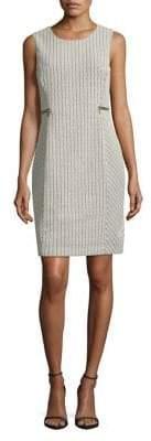 Calvin Klein Chevron Jacquard Zip-Trim Sheath Dress