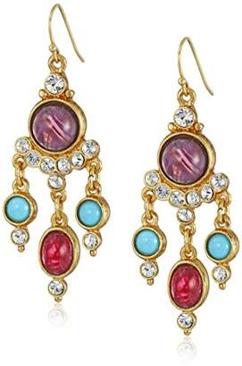 Ben-Amun Jewelry Mini Chandelier with Mixed Stones and Crystals Earrings