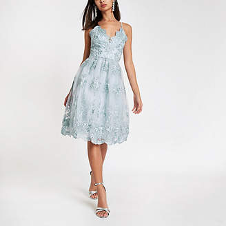 River Island Chi Chi London blue lace floral prom dress