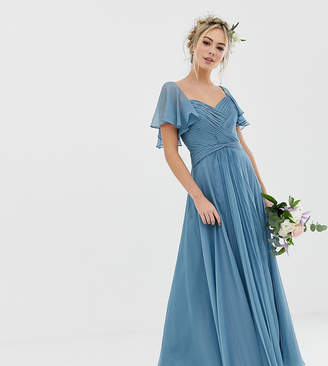 Asos Design DESIGN Bridesmaid pleated bodice maxi dress with flutter sleeve