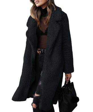DEMO SHOW Women's Coat Fuzzy Fleece Long Cardigan Faux Fur Winter Outwear Jackets (, L)