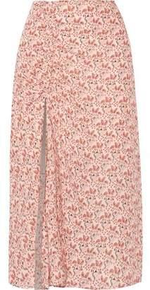 A.L.C. Devon Ruched Printed Silk Crepe De Chine Midi Skirt