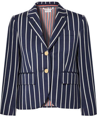 Thom Browne Striped Wool And Cotton-blend Blazer - Navy