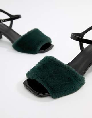 Asos DESIGN Hackney fur low Block Heeled sandals