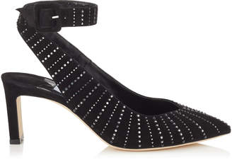 Jimmy Choo LOU 65 Black Suede Pumps with Silver Mirror Hotfix