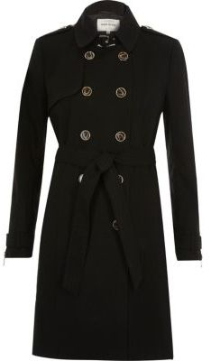 River Island River Island Womens Black zip cuff trench coat