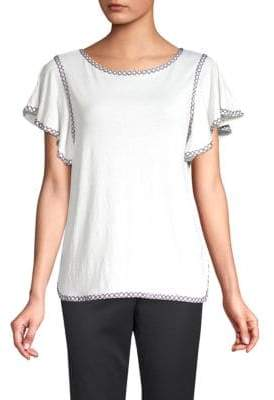 Max Studio Embroidered Flutter-Sleeve Top