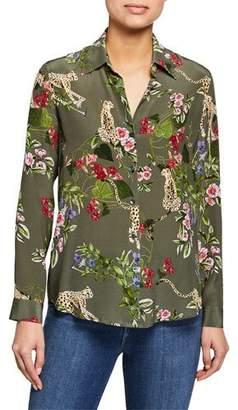 L'Agence Nina Long-Sleeve Floral Silk Blouse