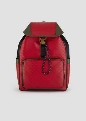 Emporio Armani Leather Backpack With Side Pockets And All-Over Logo Print