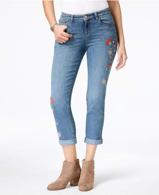 Style&Co. Style & Co Petite Embroidered Cuffed Jeans, Created for Macy's