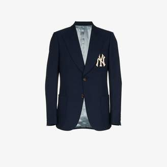 Gucci NY Yankees embroidered single breasted wool blend blazer