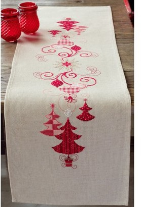 """Vervaco Counted Cross Stitch Kit 11.5""""X40.75""""-Red Christmas Decor (14 Count)"""