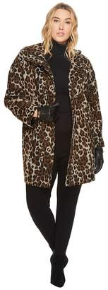 Ellen Tracy Plus Size Leopard Print Asymmetrical Coat Women's Coat