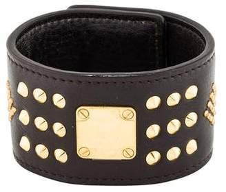 MCM Studded Leather Cuff Bracelet