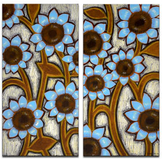 """Ready2hangart 'Turquoise Sunflowers' 2 Piece Floral Canvas Wall Art Set, 24x12"""""""