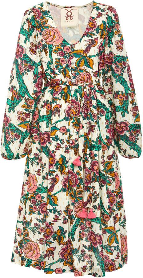 Figue Malina belted cotton-blend dress