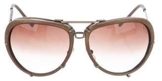Bottega Veneta Leather-Trimmed Oversize Sunglasses