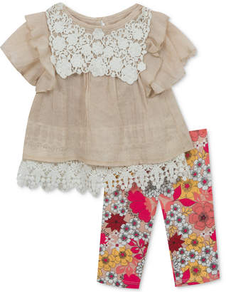 Rare Editions 2-Pc. Tunic & Floral-Print Leggings Set, Baby Girls
