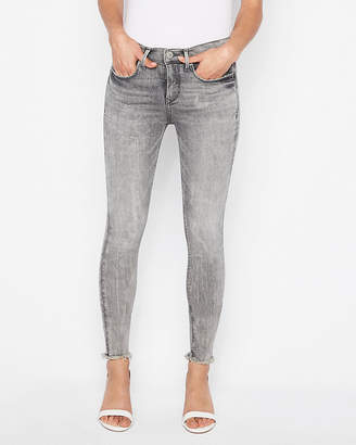 Express Mid Rise Raw Hem Stretch+ Denim Perfect Ankle Leggings