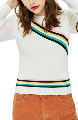Topshop Chevron Fine Gauge Sweater