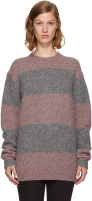 Acne Studios Pink and Grey Striped Albah Sweater