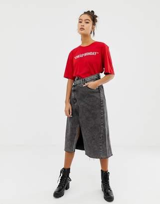 Cheap Monday tilt rigid denim skirt with organic & recycled cotton