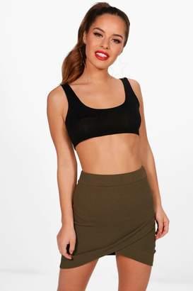 boohoo Petite Wrap Front Curved Hem Mini Skirt