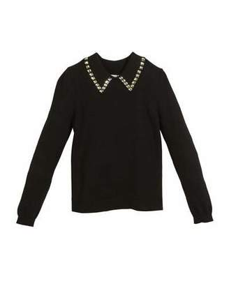 Milly Minis Rhinestone-Trim Pullover Sweater, Size 4-7