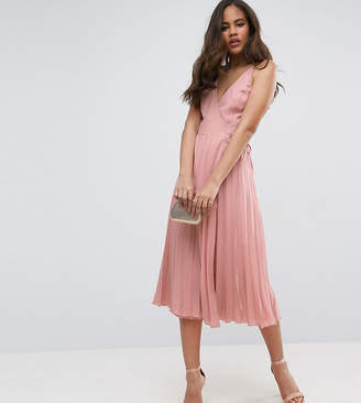 Asos Tall TALL Wrap Front Pleated Midi Dress