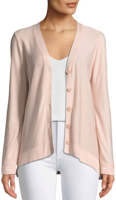 Donna Karan Polka-Dot Back V-Neck Cardigan