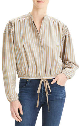 757fa8f8 Theory Ribbon Striped Button-Down Shirred Yoke Long-Sleeve Crop Top