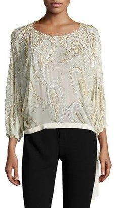 Jenny Packham 3/4-Sleeve Beaded Side-Tie Blouse, Glass $2,640 thestylecure.com