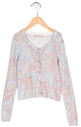 Miss Blumarine Girls' Printed Knit Cardigan