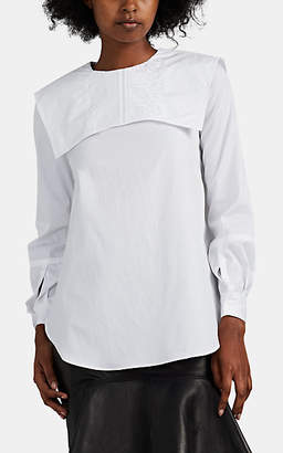 HIRAETH Women's Amelie Cotton Poplin Bib Blouse - White
