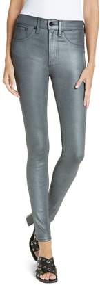 Rag & Bone High Waist Ankle Coated Skinny Jeans