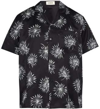 Commas - Palm Print Short Sleeved Silk Blend Shirt - Mens - Navy Multi