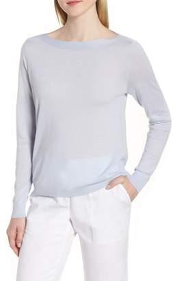 Nordstrom Signature Drape Keyhole Back Cashmere & Linen Sweater
